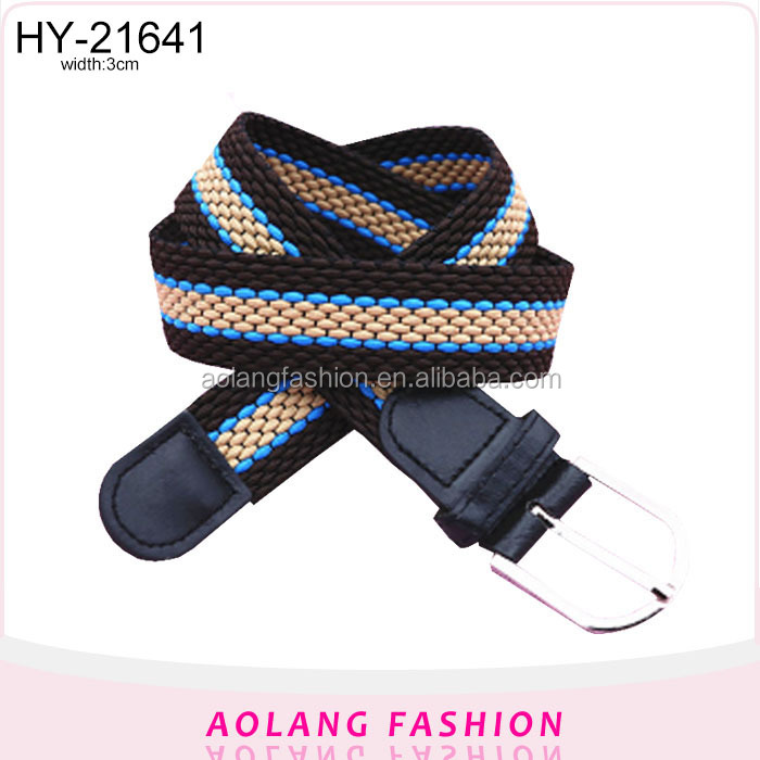 Latest design striped woven elastic polyester fashion elastic belt