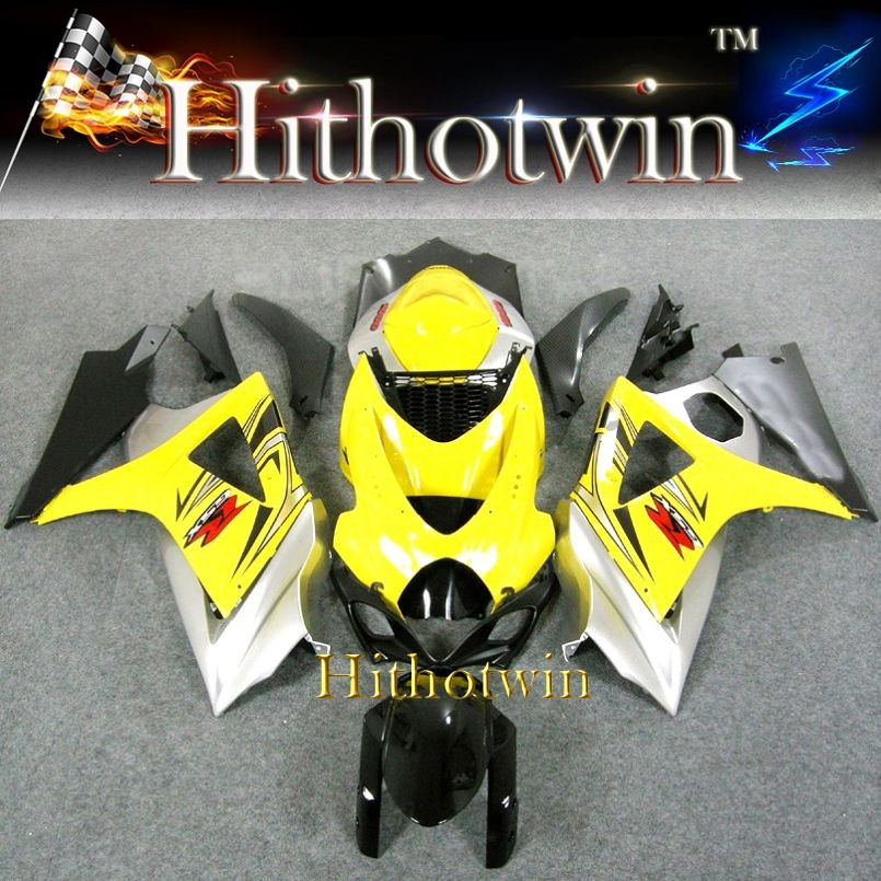 2007 2008 GSXR 1000 yellow silver ABS Plastic Fairing Set For Suzuki GSXR-1000 07-08 Yellow Sliver Bodywork GSXR1000 2007 2008