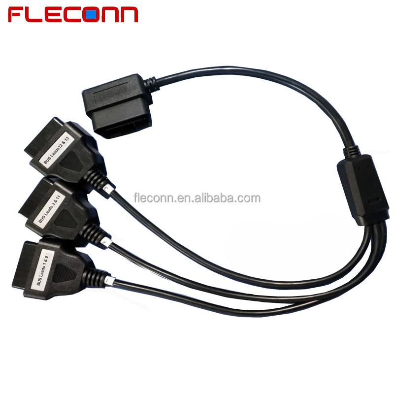 Right Angle 1 Male J1962 OBD-II to 3 Female J1962 OBD2 Splitter Cable