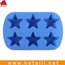 Factory supply Durable Five star shape 6 cups 3D Commercial Silicone Decorative Making cake Mold