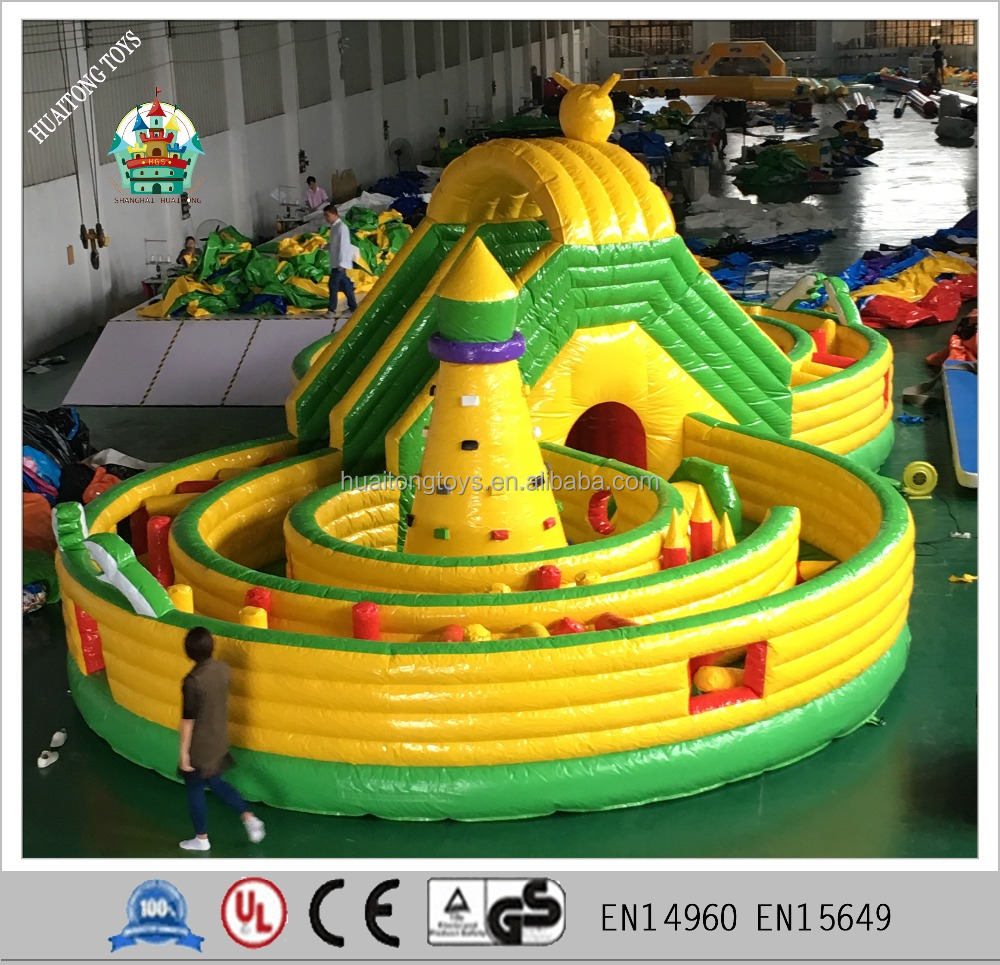 large eight shape inflatable fun city bouncer climbing maze game for kids