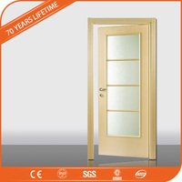 JFCG Wood Plastic Composite Wood Transfer with glass Interior Room Doors