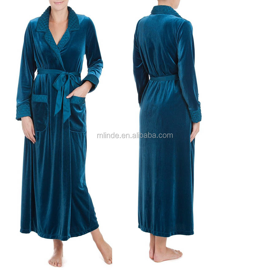 Velvet Robe Women Gorgeous Soft Plush Waffle Pattern Fleece Bathrobe Bath Robe With Notched Collar