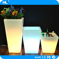 Remote control LED lighted square fancy flower pot