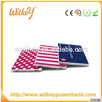 W-67 card shape power charger,2200mah polymer battery