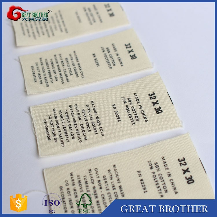 custom folded printing100%poly or cotton woven labels for garments