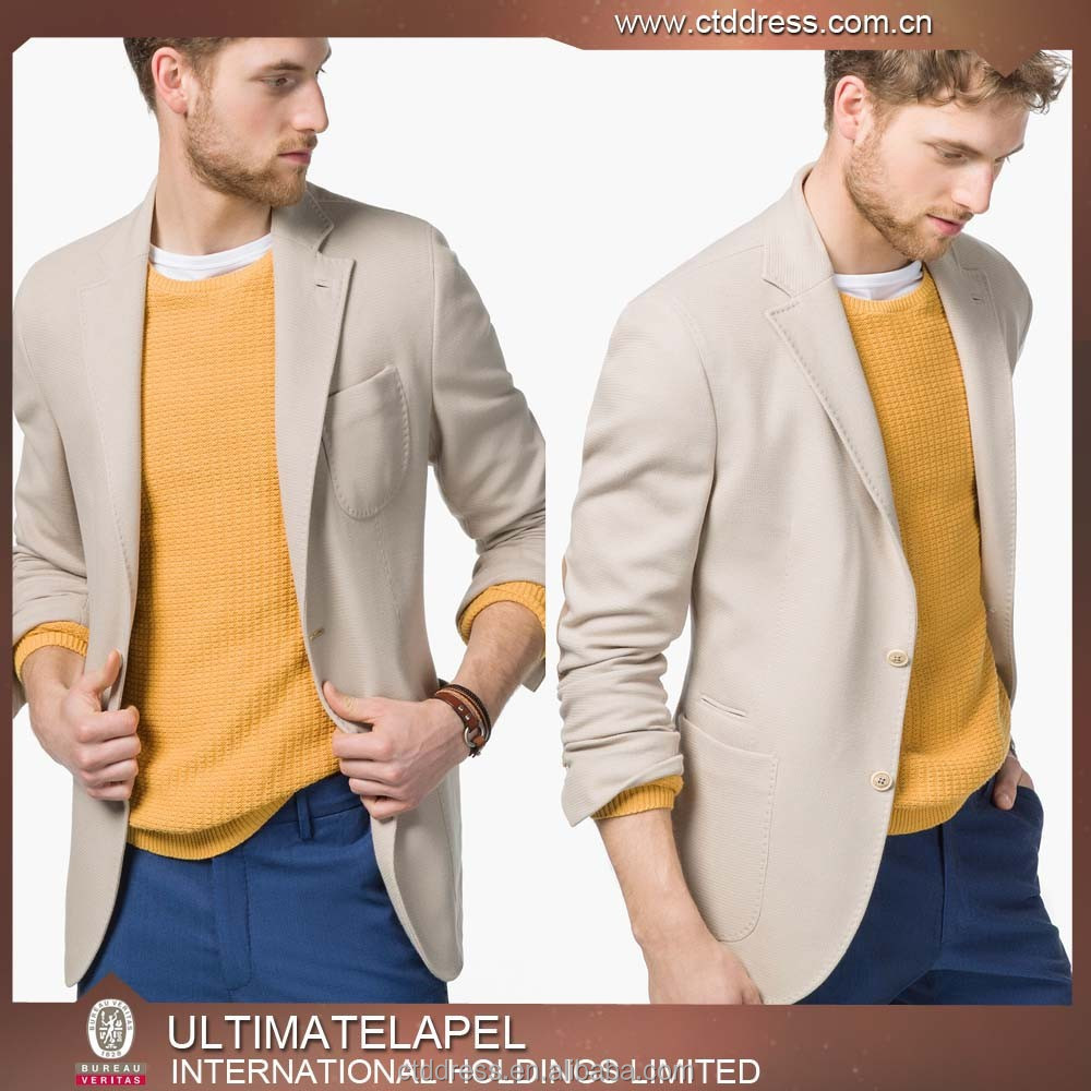 2015 top quality mens beige cotton blazer sex