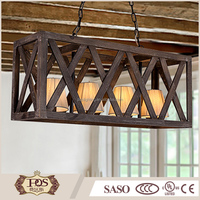 classic decoration rectangle light shade wooden hanging pendant lamp