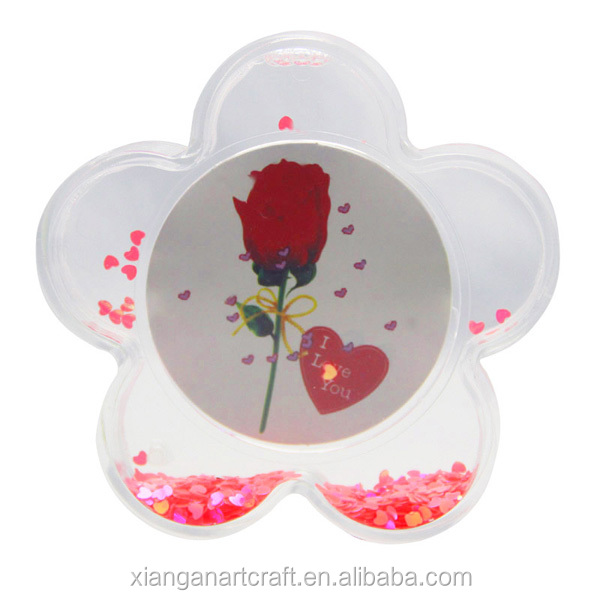 Acrylic Plastic Flower Shape Photo Frame With Liquid Red Heart Confetti Glitter Photo Insert Snow Globe Photo Frame