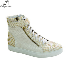 Fashion White Leather Casual Sport Footwear Mesh Hollow High Top Double Zipper Lace-up Crochet Pattern Unisex Sneaker Shoes