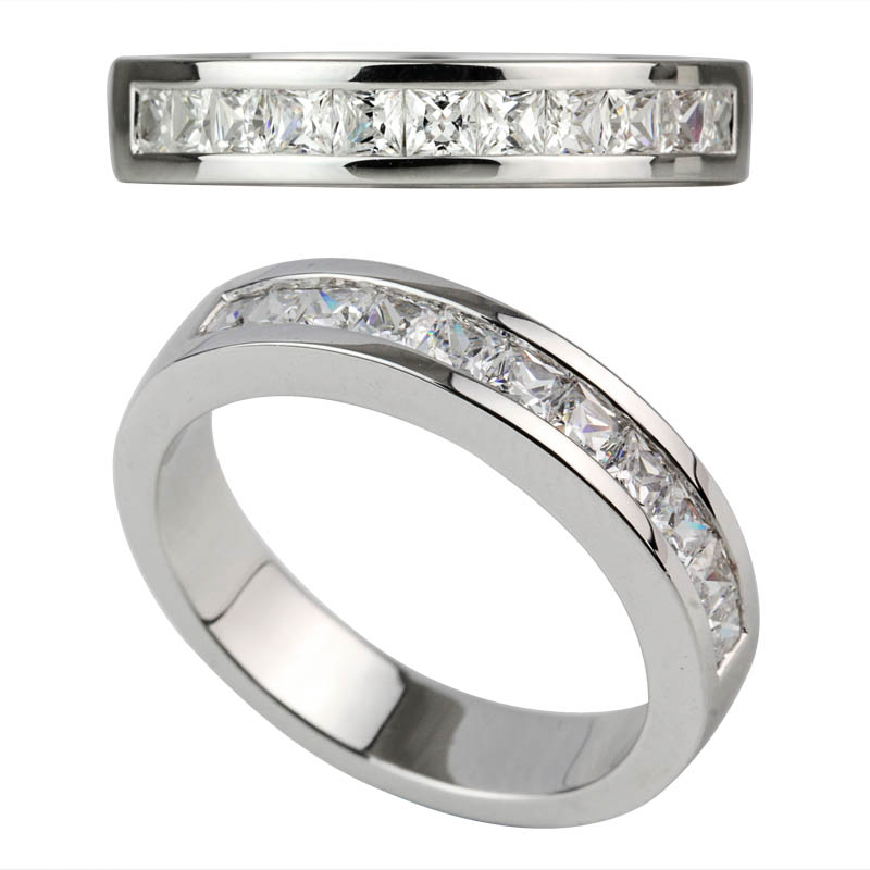channel setting princess cut wedding band 925 sterling silver ring
