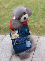 Denim Hooded Pet Dog Puppy Wear Cool Autumn Winter Jumpsuit With Four Feet
