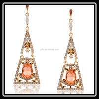2015 Fashion Orange Crystal Dubai Gold Plated Triangle Drop Earrings Jewelry Making Supplies