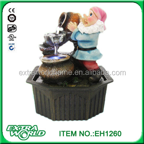 custom gnome dwarf tabletop water fountain