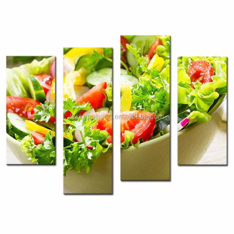 LK4145 4 Panel Oil Painting Colorful Various Vegetable Salad In Bowl Wall Art Painting Pictures Print On Canvas Food Picture For