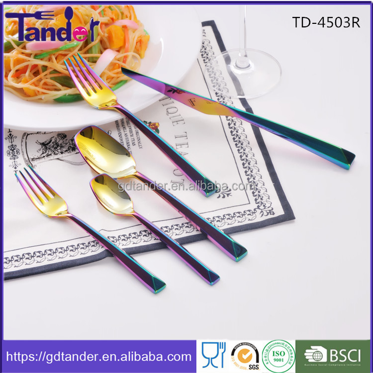 Tander hollow handle pvd coating cutlery stainless steel rainbow cutlery set