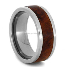 Wood Wedding Band Classic Titanium Ring With Magenta Box Elder Burl inlay Interchangeable Ring