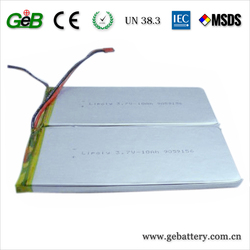 Rechargeable lipo GPS/miner's lamp battery cell 3.7V 10000mAh