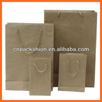 Flat Brown Kraft Paper Shopping Bag with Handles