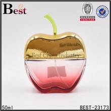 hot sale best selling products luxury gold gradient color apple shape glass spray perfume bottle 50ml