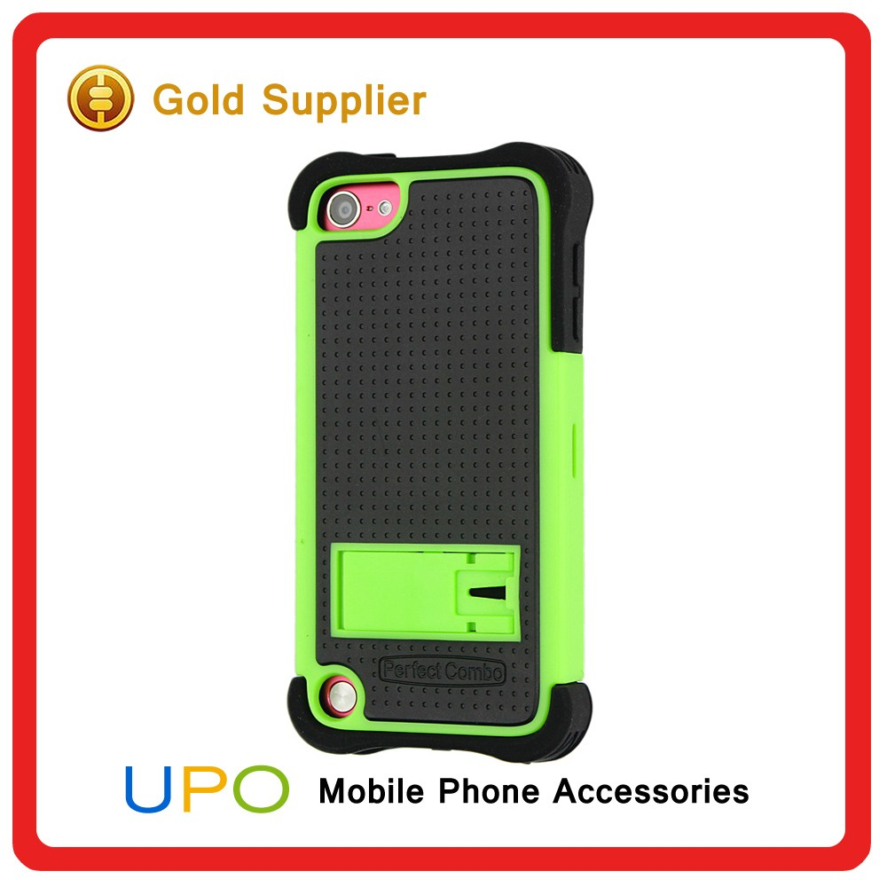 [UPO] Wholesale High Quality Black Silicone Hybrid Hard Case Phone Cover for iPod Touch 5 with Kickstand