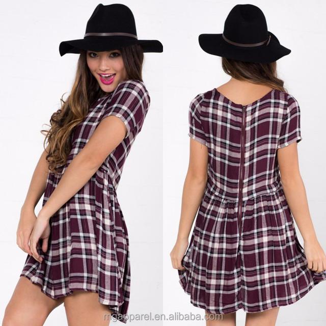Hot selling layd fashion garment short sleeve ladies burgundy check print dress