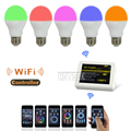 Mi-Light 12PCS 2.4G E27 6W RGB Warm White+ 1x Wireless WiFi Controller+1x 4-Zone 4 Group RF Remote Controller Bulb Light
