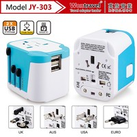 JY-303 Smart Ic travel electric adapter,useful international travel plug adaptor with dual USB ports