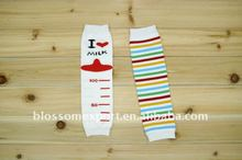 Wholesale soft 100% cotton rainbow stripe baby leg warmers kids leg warmer