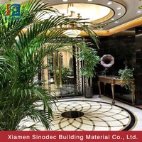luxury natural marble waterjet medallion for flooring black and white marble tiles