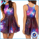 Wholesale 2016 Sexy Ladies fashion Galaxy Purple Skater Dress german print casual dresses patterns for women