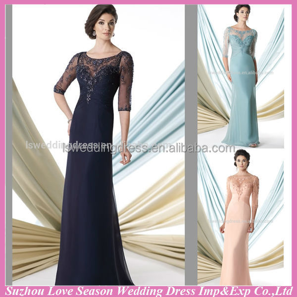 HM2001 2015 new Fashion half sleeve round neckline tall cheap long sexy vintage lace chinese wedding dress mother of the bride