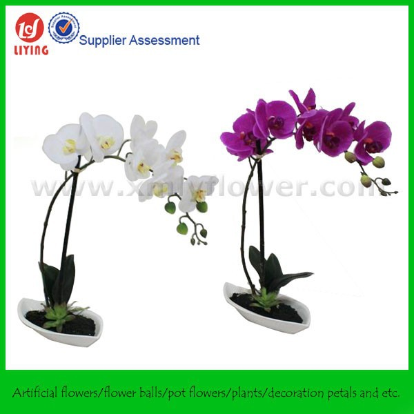 "27.5"" Potted Decorative Artificial Flower Orchids,Artificial Orchid With Pot,Artificial Orchid Potted Plant"