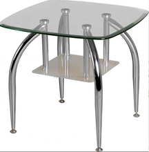 square lamp table with chrome legs