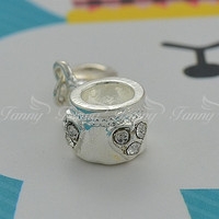 C020 Mixed Silver Tone Rhinestone On Alloy Pendant.Cup Shape Fits Charms In Cheap Price