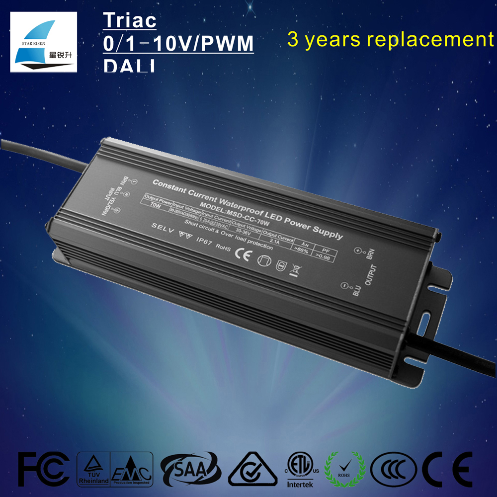 Waterproof constant current 36v dc 1.8a 70w led driver for led application