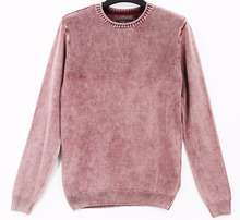 Men's stone wash with fancy pattern sweater pullover