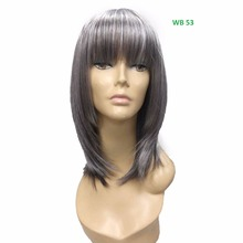 "Medium Layered OYSTER GREY New Premium Synthetic Wig Synthetic Fiber with finest Quality Hot style for old ladies 14""L Full Wig"