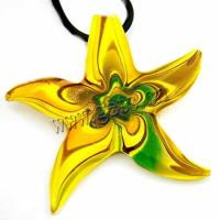 lampwork 10kt yellow gold necklace