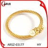 Alibaba website yellow gold steel wire jewelry ladies hand cuff bracelet wire bracelet