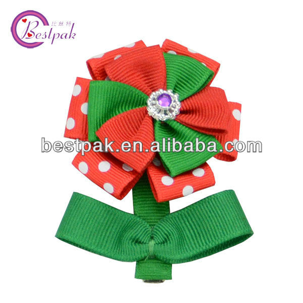 2013 hot sale lovely small flower ribbon bow hair clips wholesale