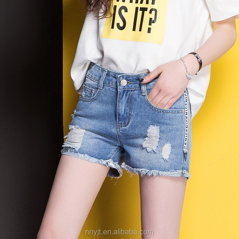 Latest design top quality ripped denim jeans short pants for girls