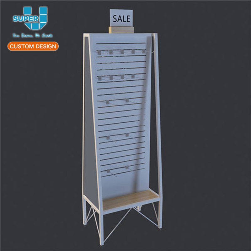 Slatwall Floor Standing Baby Clothes Exhibition Display Stand for Shop
