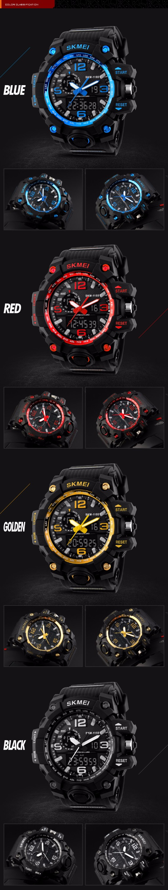 sk 1155 2017 New Design Skmei Brand Sport Watches For Men 3ATM Waterproof Watches Manufacturer Supplier Exporter