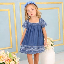 Wholesale short sleeve cute 3 year old baby girl clothes embroidery blue 100% cotton floral dress