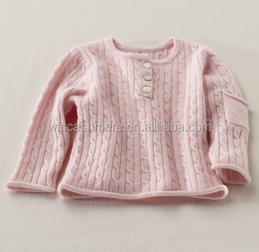 2016 design for baby spring baby cable knit 100% cashmere sweater cardigan