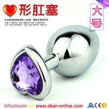 Large size Heart-shape silvery Stainless steel Anal Plug Anal sex toys