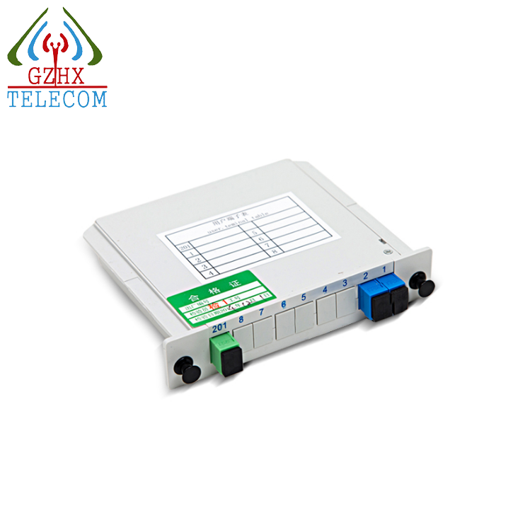 1x2 LGX Box Card Insertion Type FTTH Passive Fiber optic PLC Splitter with SC Adapter