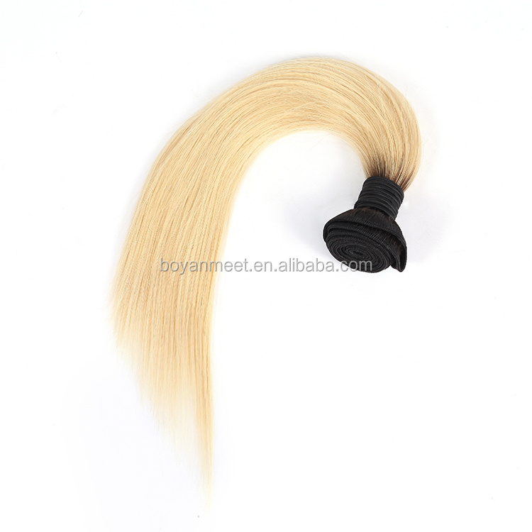 Cuticle aligned hair weft 1b/613 blonde
