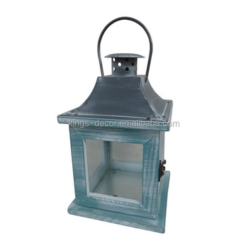 Blue square small wooden candle lantern with grey metal top